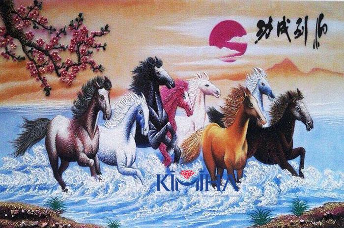 Tranh đá quý cao cấp Kimiha - Bát mã truy phong